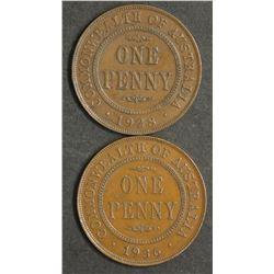 Australia Pennies 1928 & 1936