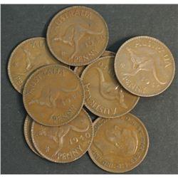 Australia Pennies 1940 KG Better Grade (10 Coins) Scarce