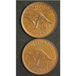 Australia Pennies 1955Y & 1956 Y