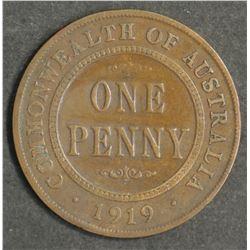 Australia Penny 1919 Double Dot