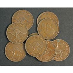 Australia Penny 1941 KG 10, 1941 M 10 Average Circulated