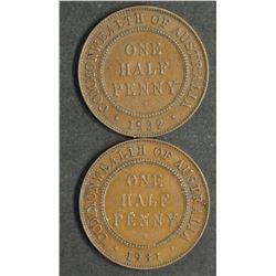 Australia Halfpennies 1931 & 1932