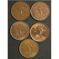 Australia Halfpennies 1942M, 43, 48, 51pl, 59