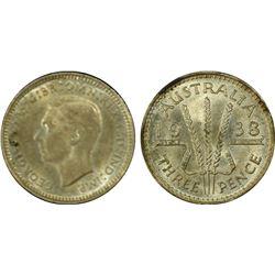 Australia 1938 Threepence