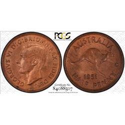 Australia 1951 Half Penny Not Dot