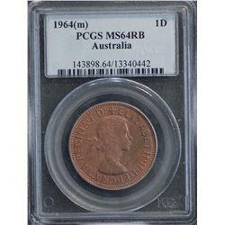 Australia Penny 1964 PCGS MS 64 RB