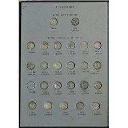 Australia Threepence & Sixpence Set 1910 to 1964