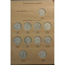 Australia Florin Set 1910 to 1963 (missing 32 & Cent)