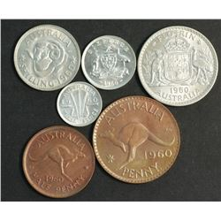 Australia 1960 Year Set 1/2 Penny to Florin Gem Uncirculated