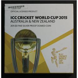 Australia 2015 $5 Silver Proof ICC World Cricket