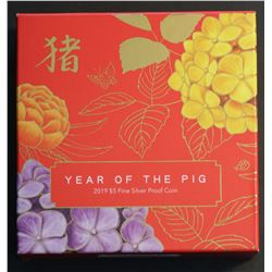 Australia 2019 $5 Silver Proof Year Of The Pig