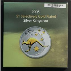 Australia 2005 Gold Plated Silver proof Kangaroo