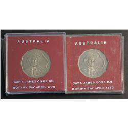 Australia Captain Cook Specimen 50 Cents in Red Cases  (20)