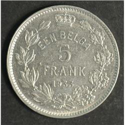 Belguim 5 Franc 1933 Extremely Fine Scarce