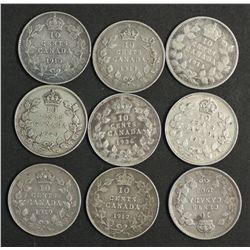 Canada Group 10 Cents 1903, 1910,1912,1913,1914,1918,1919,1920,1936