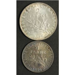 France 1 Franc & 2 Franc 1916