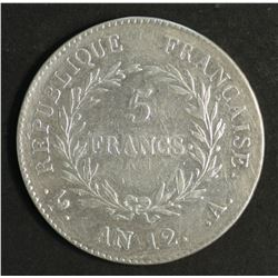 France 5 Franc AN 12 Extremely Fine