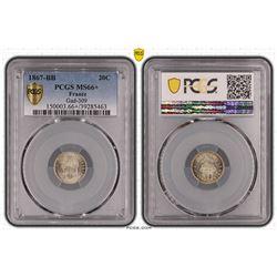 France 20 Cent 1867 Strasbourg Mint PCGS MS 66 Plus