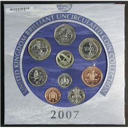 Great Britain 2007 Mint Set, Includes Scarce 2 Pounds