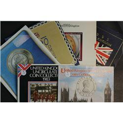 Great Britain Mint Sets 1982,83,88,90,91, 95 includes scarce Peace 2 pounds