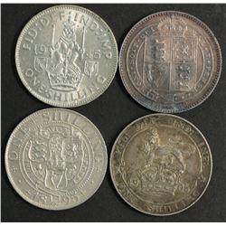 Great Britain Shillings 1888, 1895,1906,1945 Scot