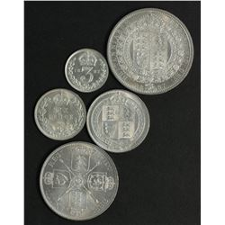 Great Britain Silver Set 1887 3 D to 1/2 Crown