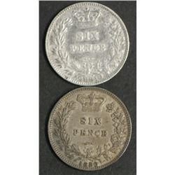 Great Britain Sixpences 1880 & 1881