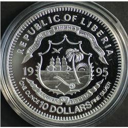 Liberia $10 1995 Silver Proof