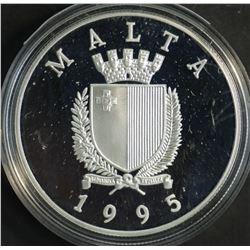 Malta 1995 5 Liri Silver proof