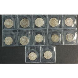Nepal Silver 1/2 Mohurs Ext Fine Mostly 19th Cent Various Rulers (12 Coins)