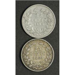 Netherlands 25 Cents 1893 & 1903