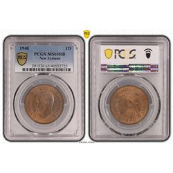 New Zealand Penny 1940 PCGS MS 65 RB