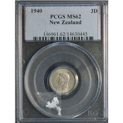 New Zealand 1940 3 Pence PCGS MS 62
