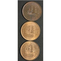 South Africa 1/2 Pennies 1952,1956 , 1957