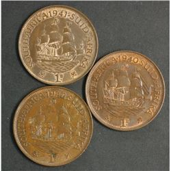 South Africa 1940, 1941 & 1942 Penny
