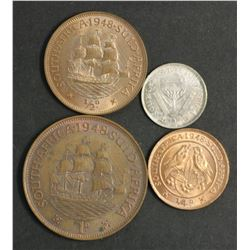 South Africa 1948 Farthing, 1/2 Penny , 3 Pence & Penny