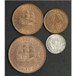 South Africa 1953 4 Coin Set