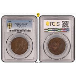 South Africa 1892 ZAR Penny PCGS MS 63 BN