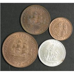 South Africa 1955 Farthing, 1/2 Penny, Penny , 3 D & Shilling