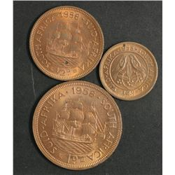 South Africa 1958 Farthing, Halfpenny & Penny