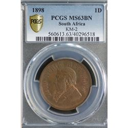 South Africa Penny 1898 PCGS MS 64 BN