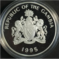 The Gambia 20 Dalais 1995 Silver Proof