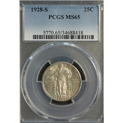 USA 25 Cents 1928 S PCGS MS 65