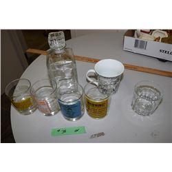 Novelty Glasses And Liquor Bottle