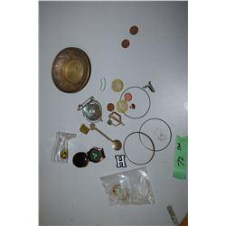 Coins, Brass Tray, Watch