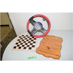 Stone Checkers Board, Good Year Steering Wheel Cover