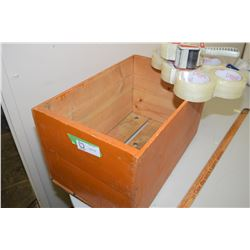 Wooden Box, Tape, And Tape Gun