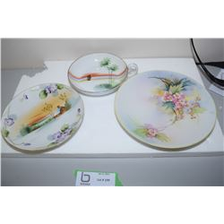 Hand Painted Nippon Cream And Sugar x3 Plates