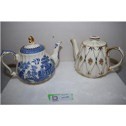 2x Sadler Teapots (Blue Has Hairline)