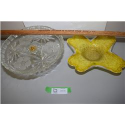 Art Glass Bowl And Pressed Glass Pedestal